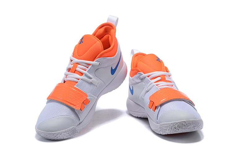 2019 Nike PG 2.5 White Orange Blue Basketball Shoes