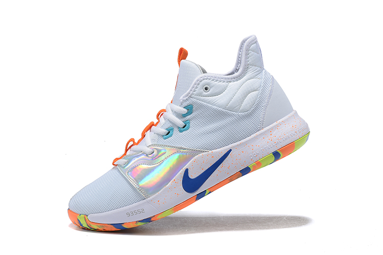 2019 Nike PG 3 Shoes Shine Silver Orange Blue