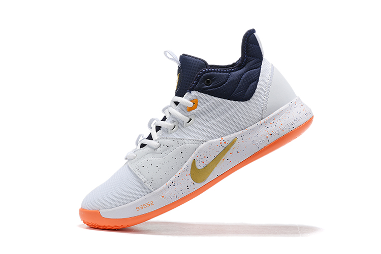 2019 Nike PG 3 Shoes White Orange Black Gold