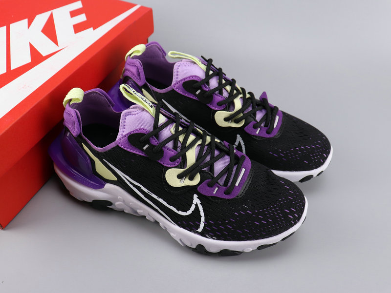 Women Nike React VISION Black Purple White Shoes