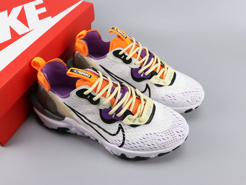 Women Nike React VISION White Purple Orange Shoes