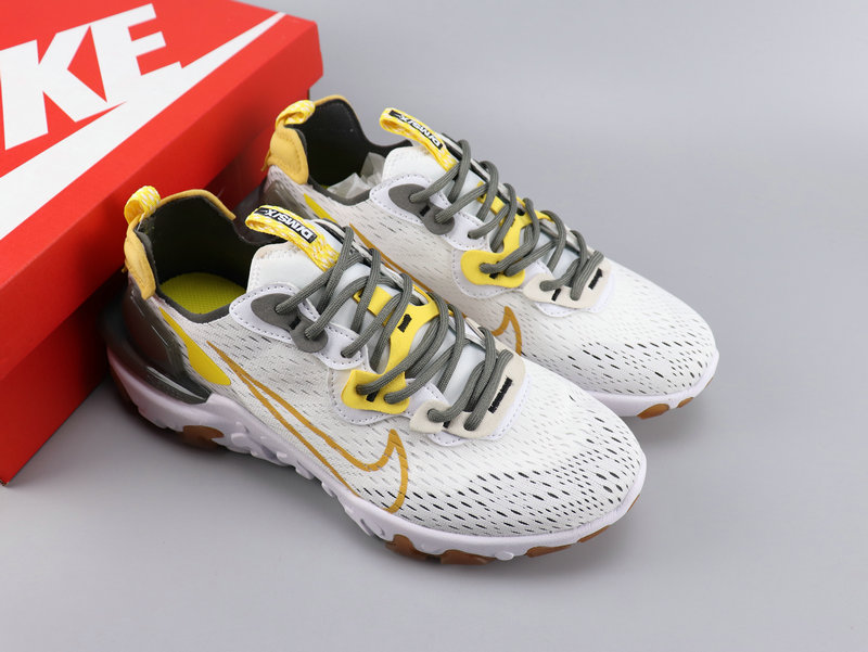 Women Nike React VISION White Yellow Grey Shoes