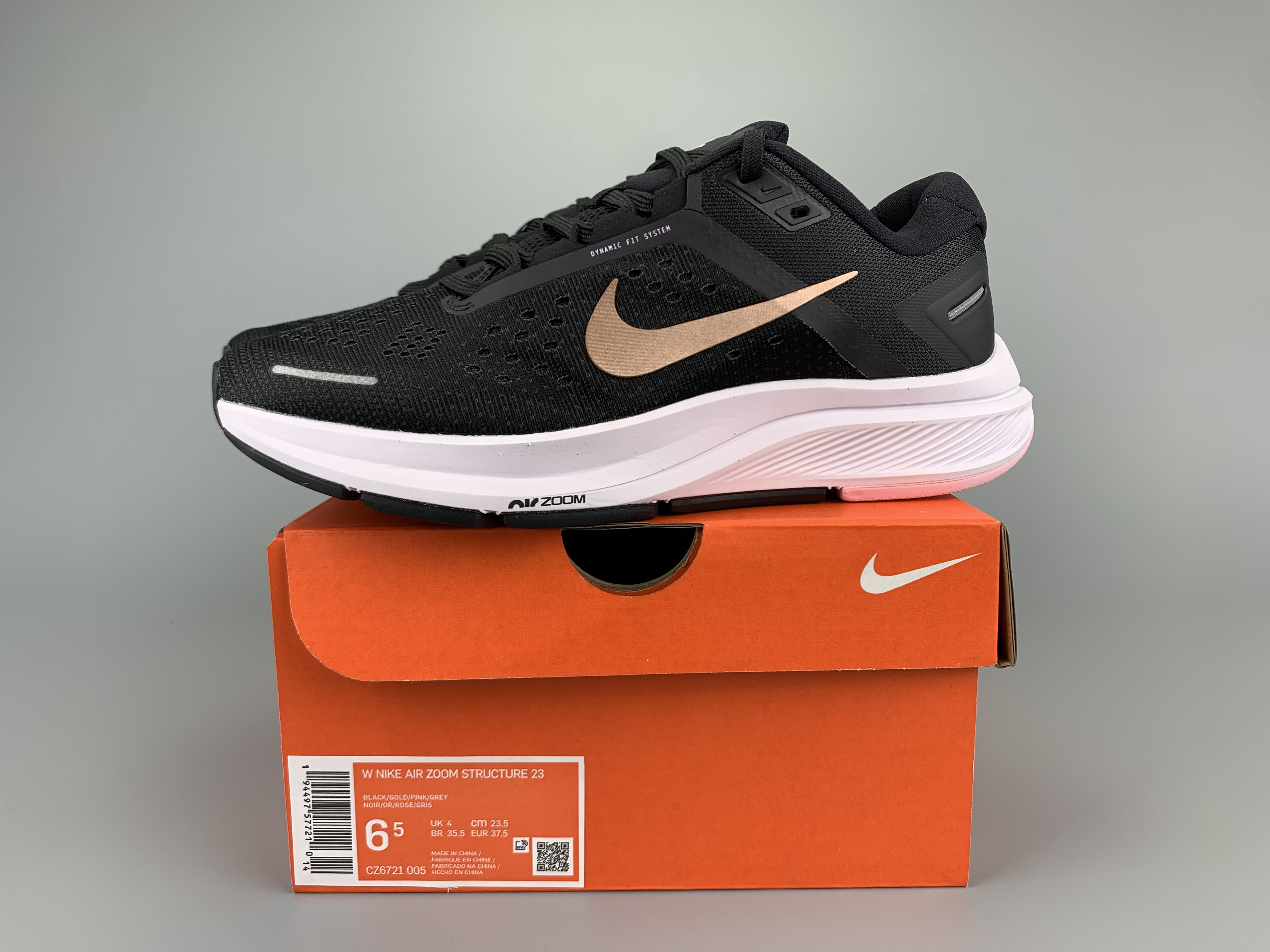 Nike Zoom Structure 23 Black Gold White Shoes