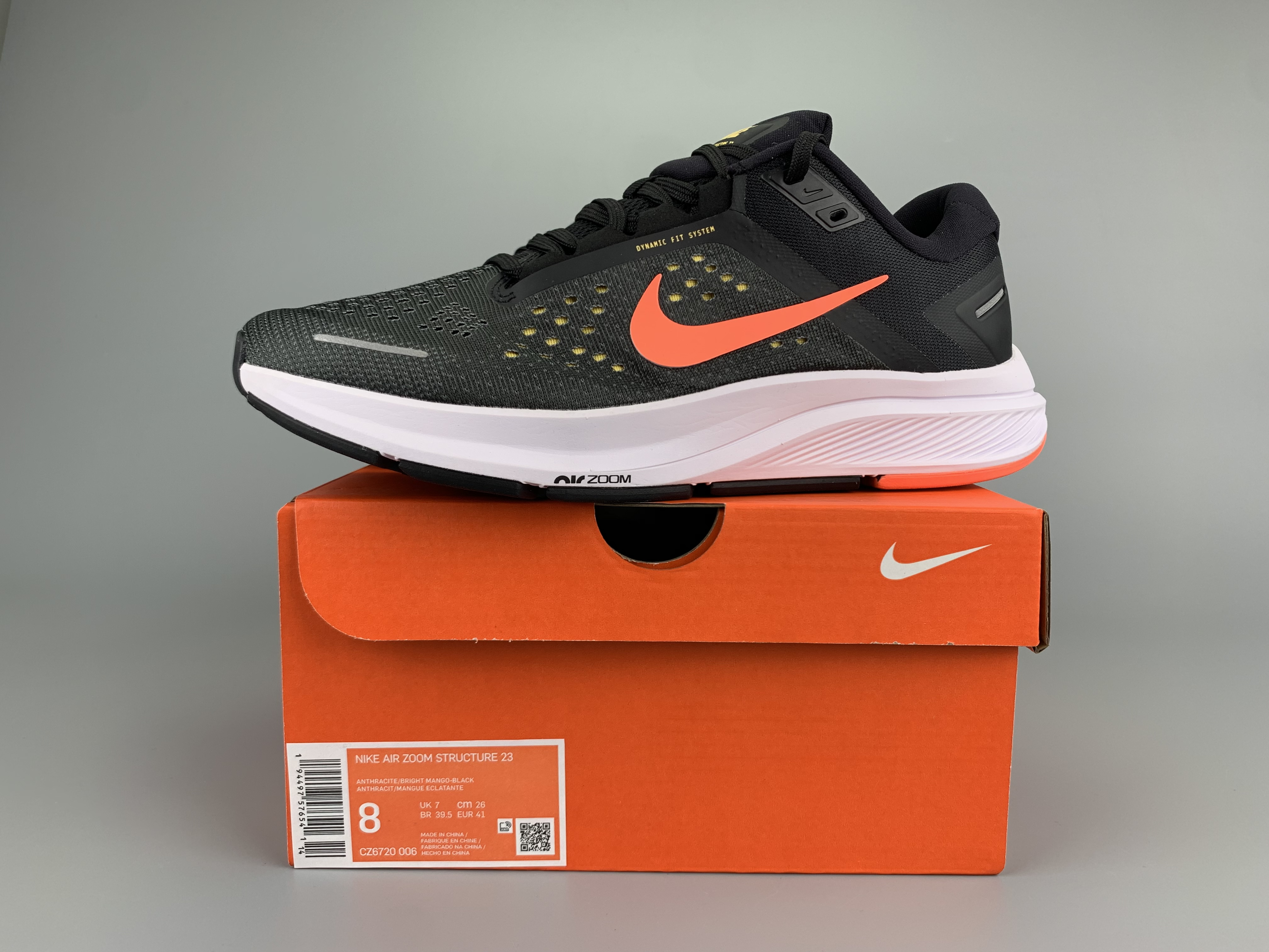 Nike Zoom Structure 23 Black Red White Shoes