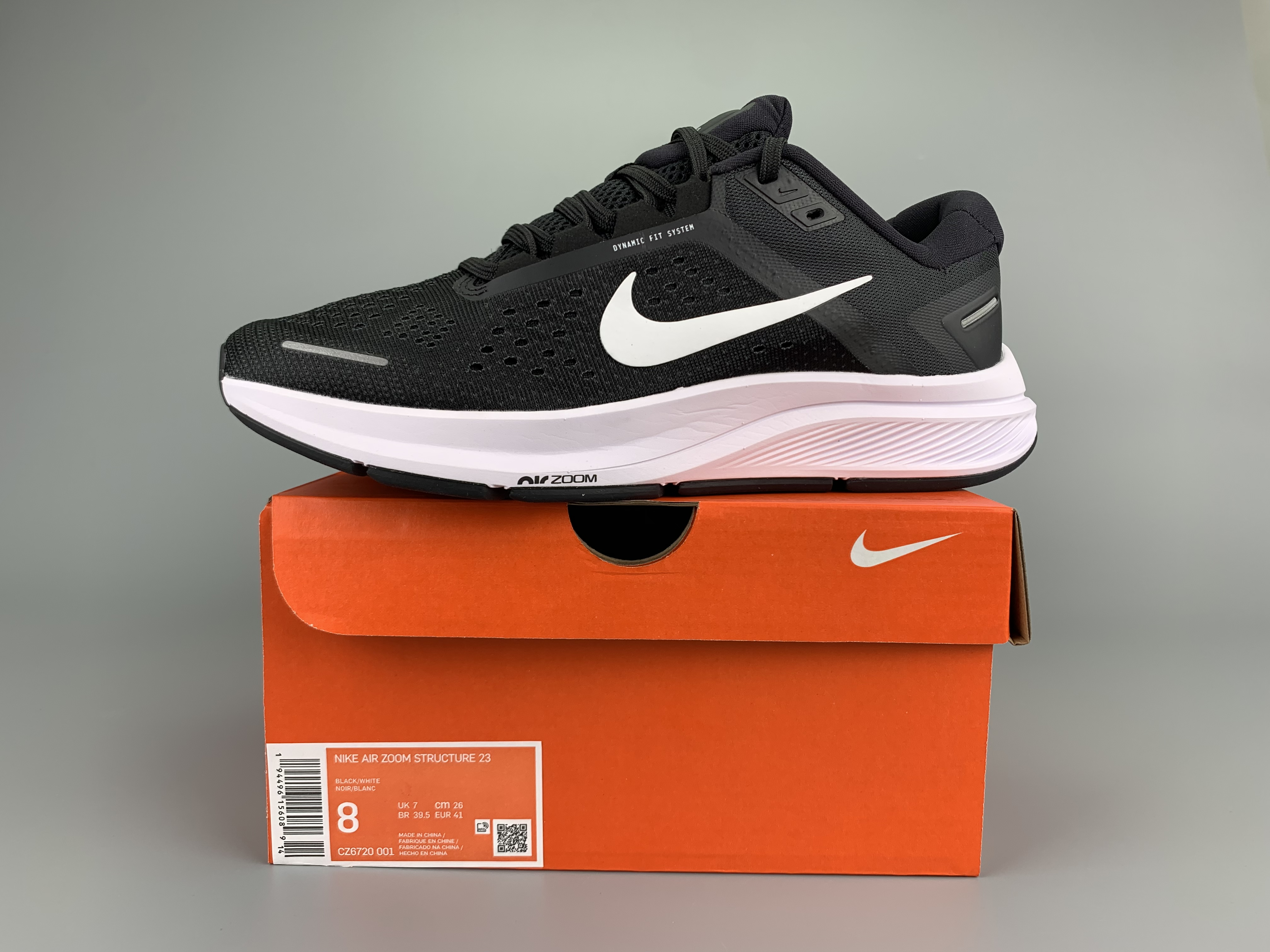 Nike Zoom Structure 23 Black White Shoes