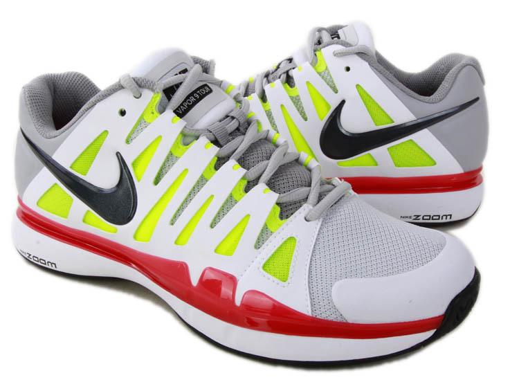Nike 2012 Zoom Vapor 9 Tour White Grey Fluorscent Red Black Tennis Shoes