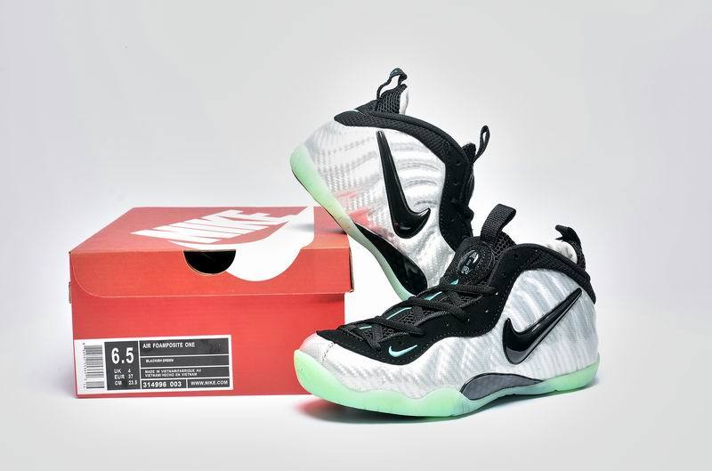 Nike Air Foamposite One Silver Black Green Shoes For Women