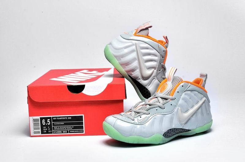 Nike Air Foamposite One Silver Green Orange Shoes For Women