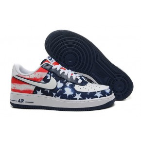 Nike Air Force 1 Low Blue Star White Red Shoes
