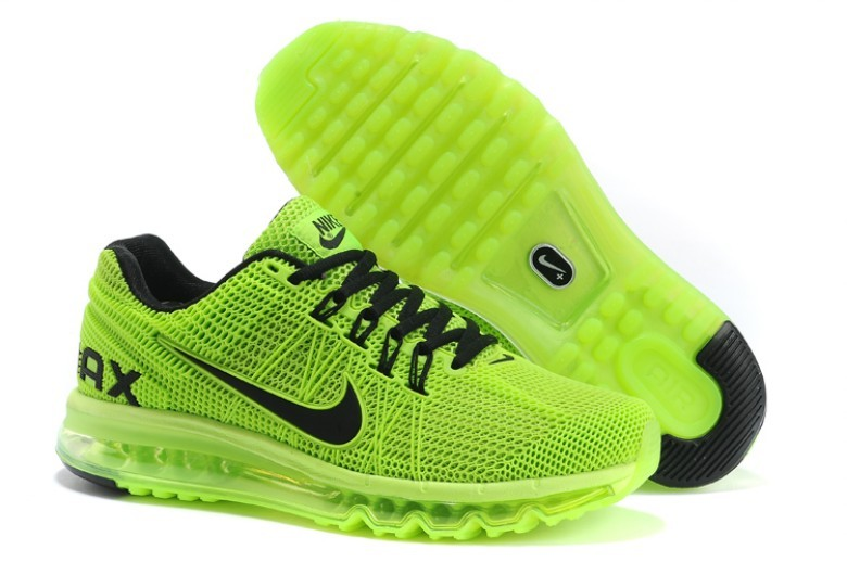 Nike Air Max 2013 Fluorscent Green Black Lovers Sport Shoes