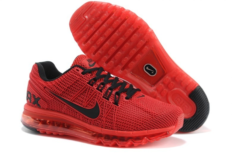 Nike Air Max 2013 Red Black Logo Sport Shoes