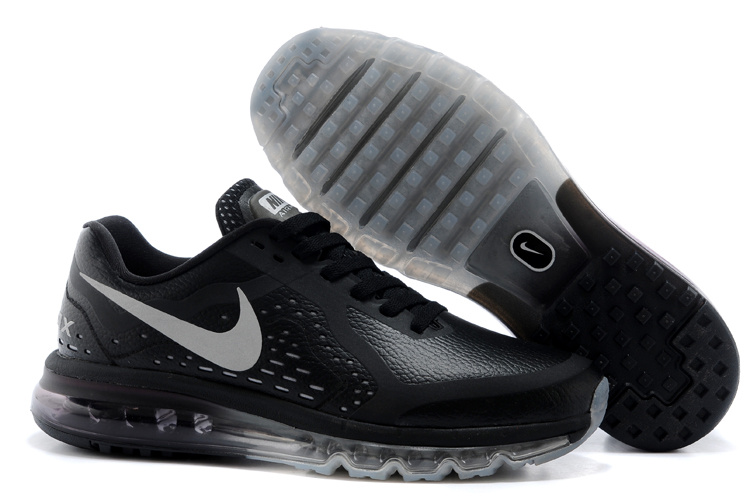 Nike Air Max 2014 Leather All Black Sport Shoes
