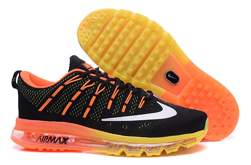 Women Nike Air Max 2016 Black Orange Yellow Shoes