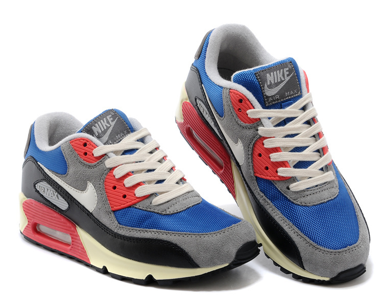 Nike Air Max 90 Blue Grey Red White For Women