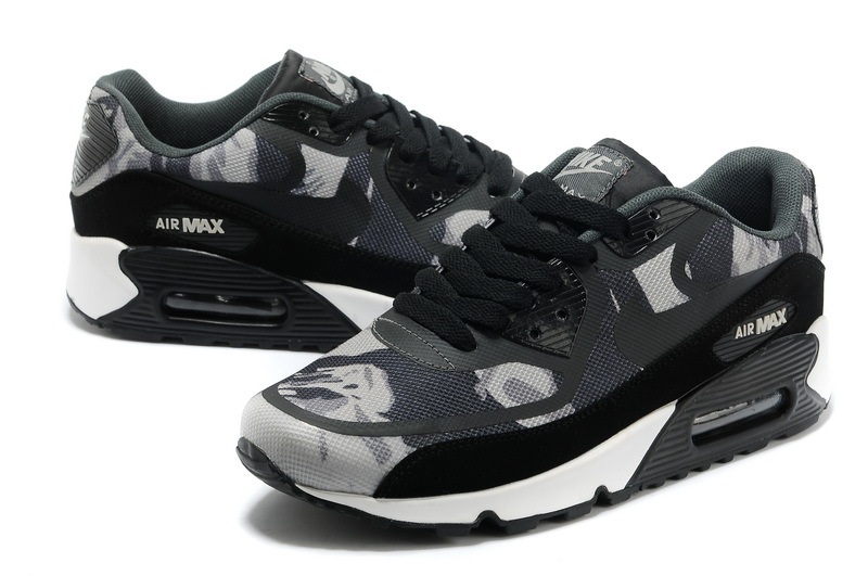 Women Nike Air Max 90 PREM TAPE Black Grey Shoes