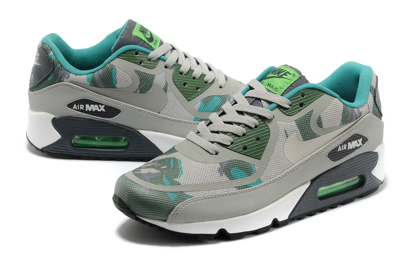 Women Nike Air Max 90 PREM TAPE Grey Army Blue Shoes