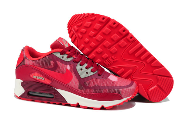 Nike Air Max 90 PREM TAPE Red White Women Shoes