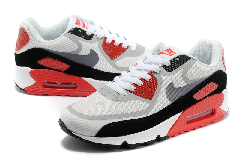 Women Nike Air Max 90 PREM TAPE White Black Red Shoes