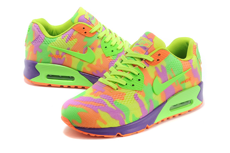 Women Nike Air Max 90 Rubber Patch 2 Camouflage Green Orange Purple