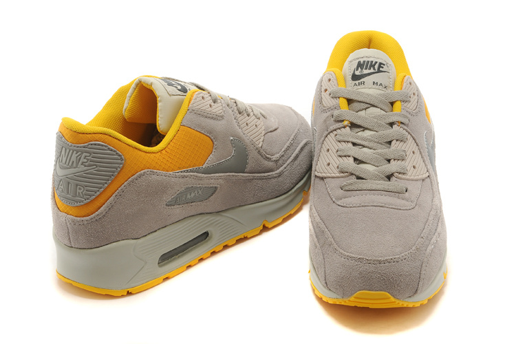Nike Air Max 90 Suede Wool Grey Yellow Shoes
