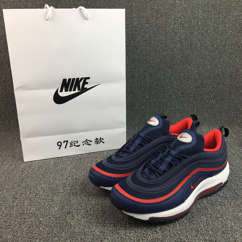 New Nike Air Max 97 Blue Red White Running Shoes