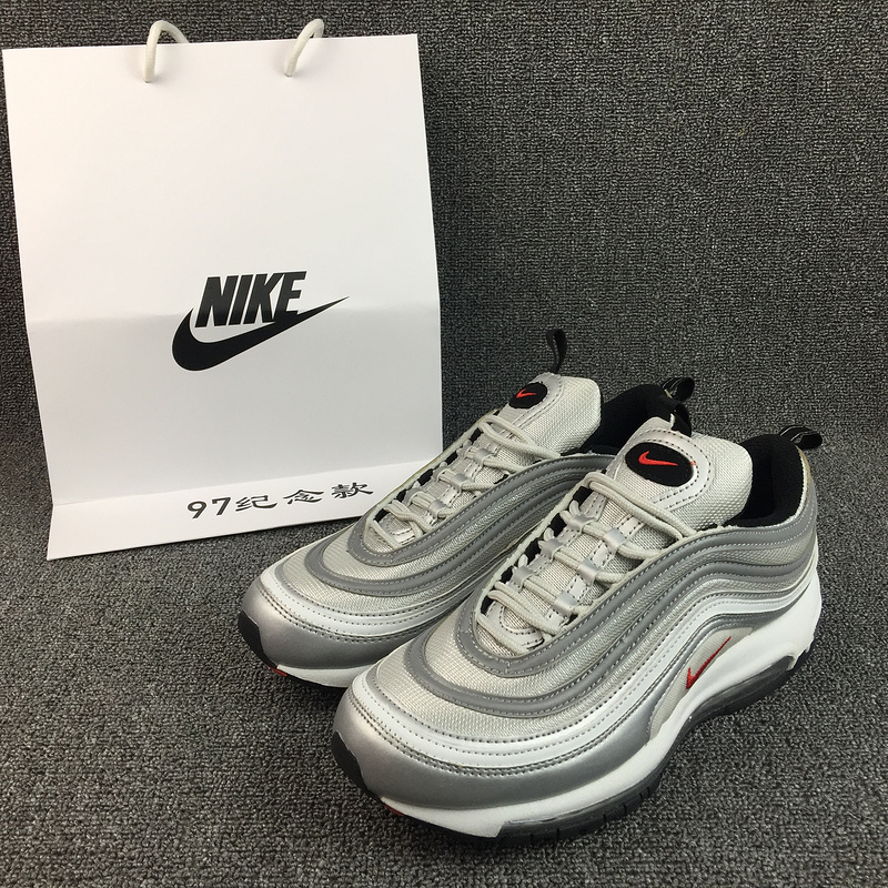 New Nike Air Max 97 White Grey Red Running Shoes