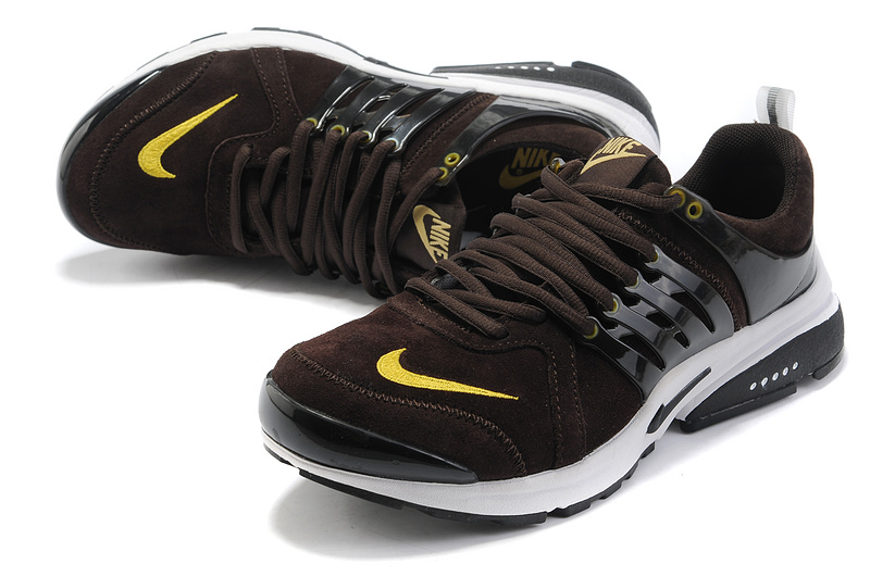 New Nike Air Presto Suede Dark Brown White Yellow Sport Shoes