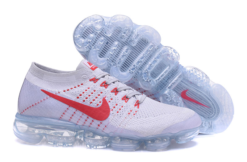 Nike Air VaporMax Flyknit White Red Shoes