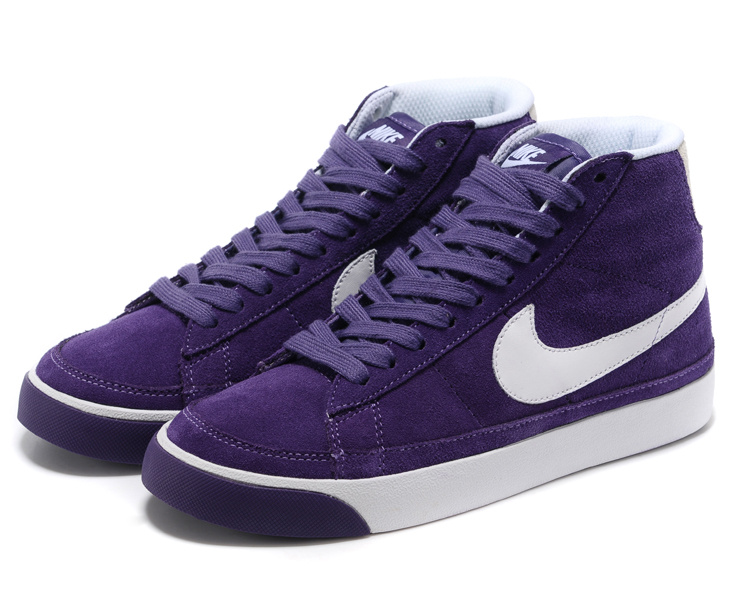 Nike Blazer 2 High Suede 1689 Purple White Womens Shoes