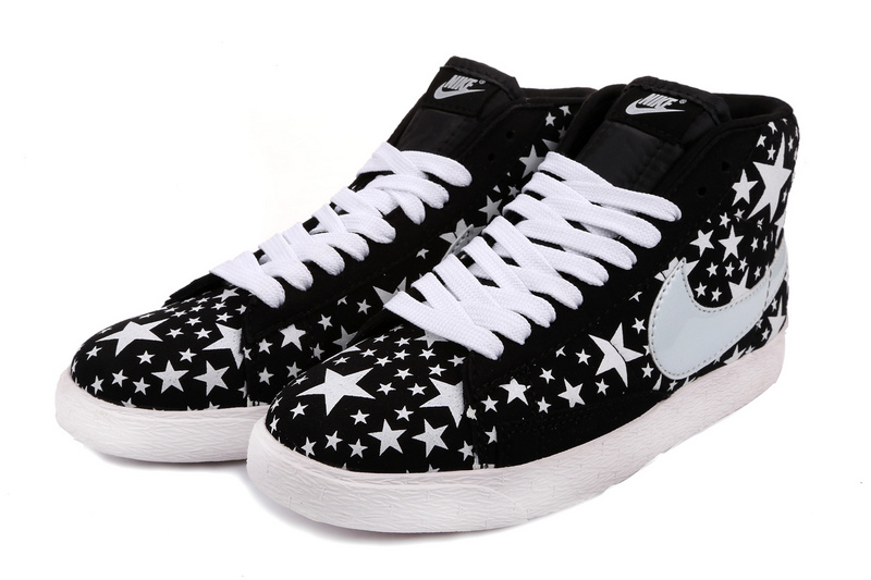 Nike Blazer High Midnight Black White Stars Men'ss Shoes