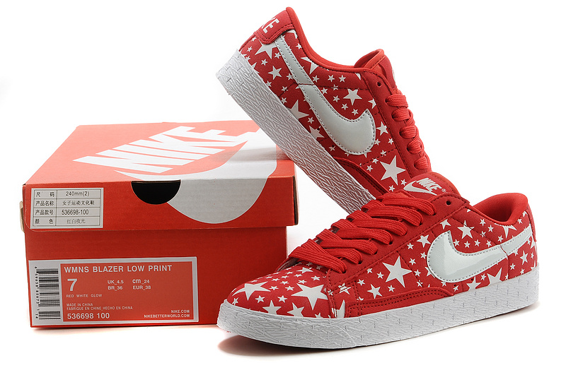 Nike Blazer Low Midnight Red White Stars Mens Shoes