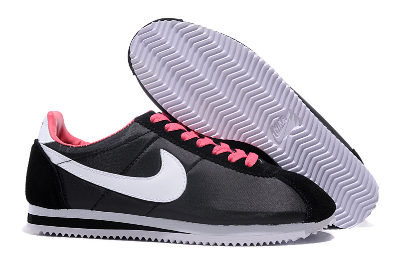 Women Nike Classic Cortez Nylon Black Grey Pink Shoes