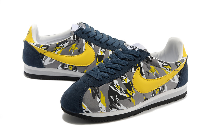 Women Nike Classic Cortez Nylon PRM Blue Grey Yellow White Shoes