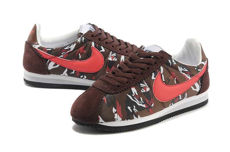 Women Nike Classic Cortez Nylon PRM Brown Red White Shoes