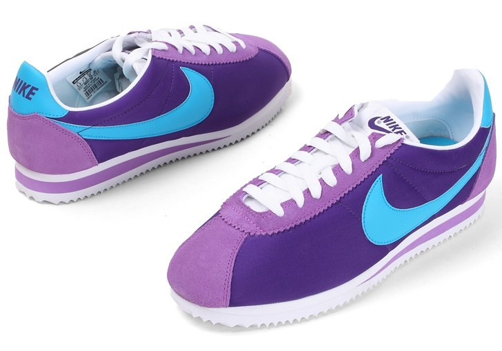 Women Nike Classic Cortez Nylon Purple Blue White Shoes