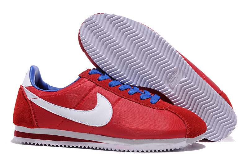 Nike Classic Cortez Nylon Red Blue Shoes
