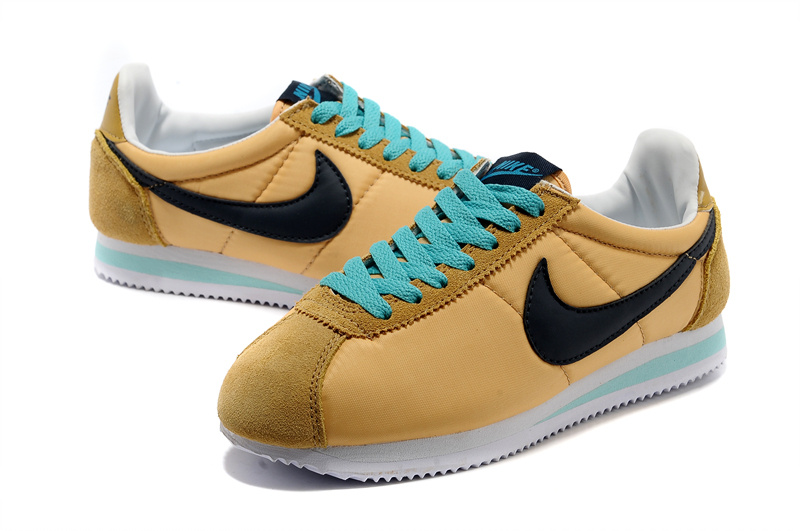 Nike Classic Cortez Nylon Yellow Blue Black Shoes