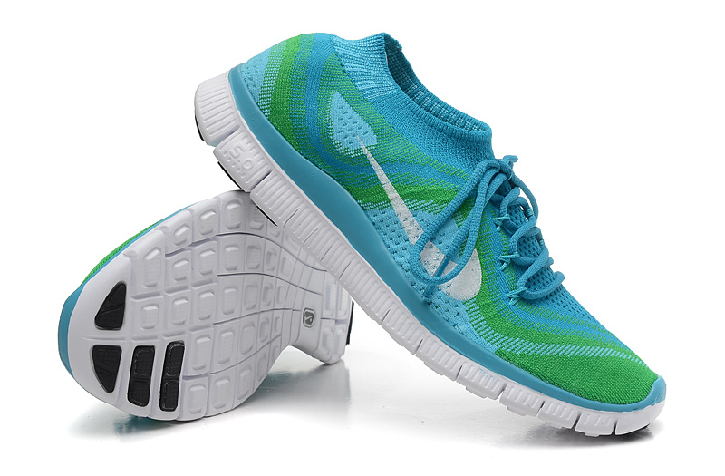 Nike Free 5.0 Flyknit Blue Green White Running Shoes