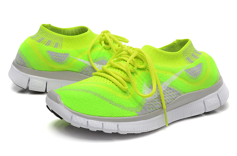 Nike Free 5.0 Flyknit Fluorescent Green Grey White Running Shoes