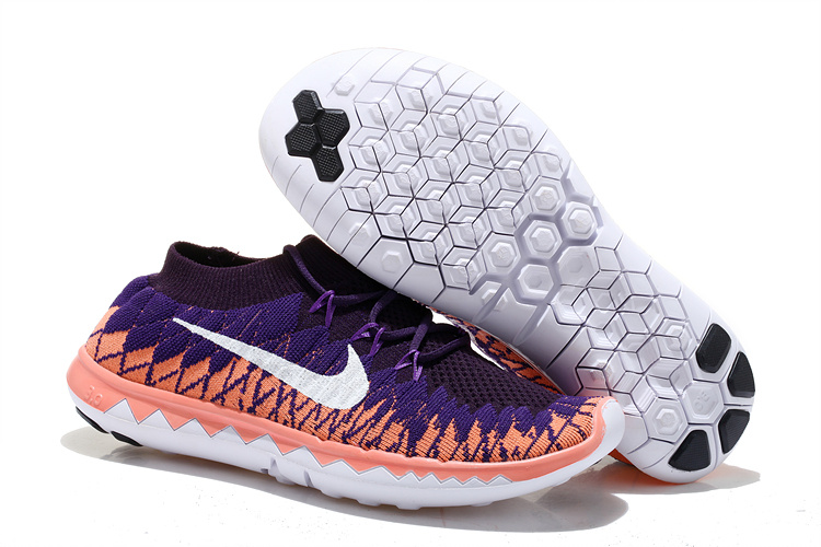 Nike Free 5.0 Flyknit Purple Pink White Running Shoes