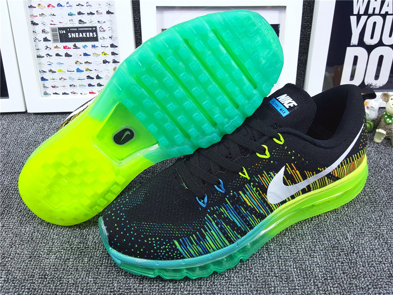 Nike Flyknit Air Max 2014 Black Green Fluorscent Shoes