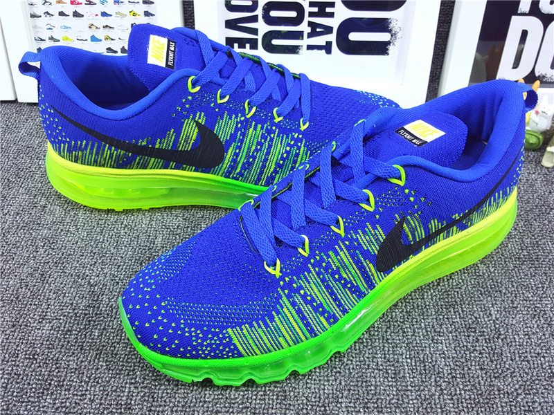 Nike Flyknit Air Max 2014 Blue Fluorscent Green Black Shoes