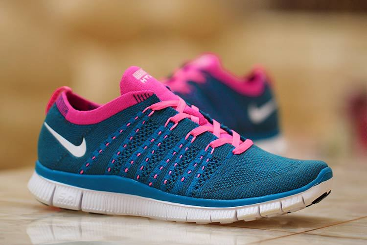 Nike Free 5.0 Flyknit Blue Red Women Shoes