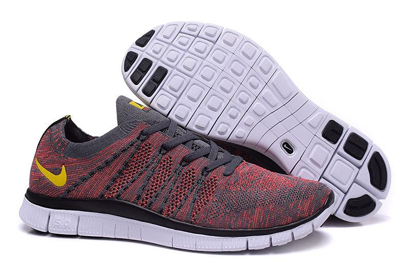 Nike Free 50 Flyknit Grey Redish Shoes