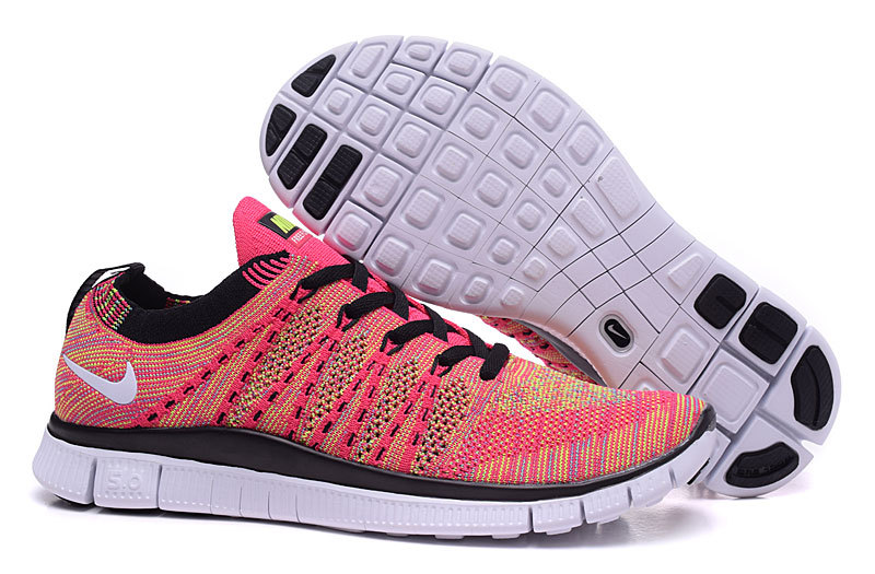 Nike Free 5.0 Flyknit Red Black Women Shoes