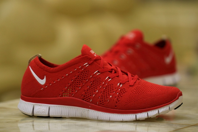 Nike Free 5.0 Flyknit Red White Women Shoes