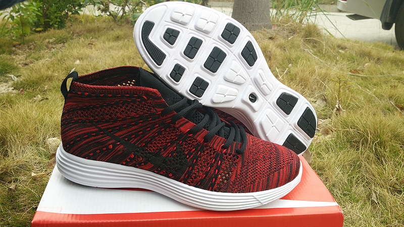 Nike Free Flyknit High Dark Red Black Women Shoes