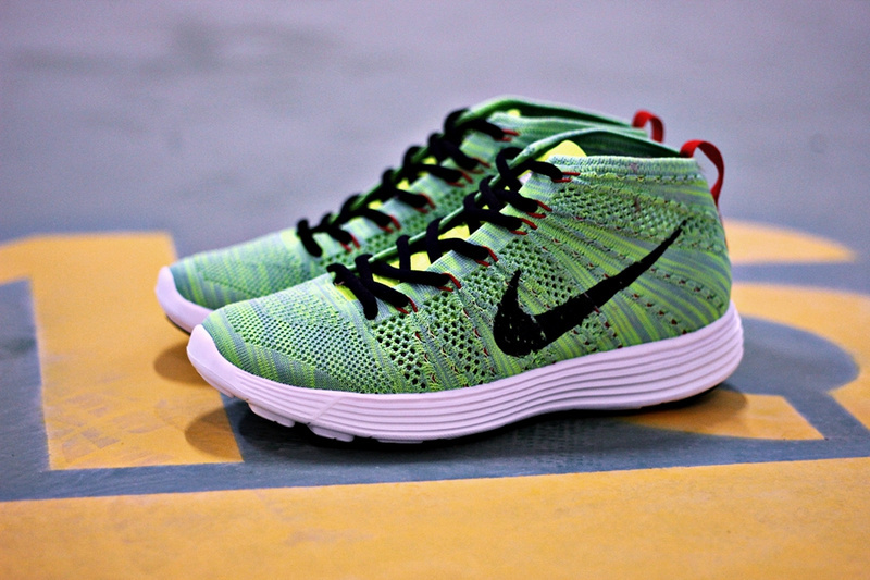 Nike Free Flyknit High Green Black Women Shoes