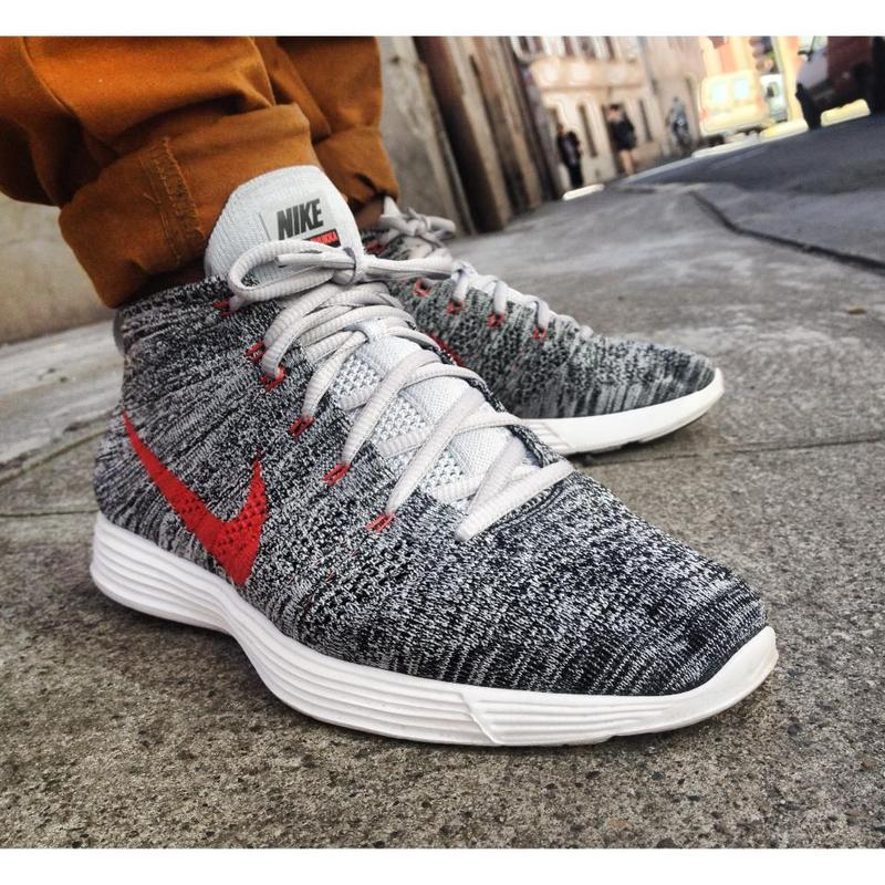 Nike Free Flyknit High Grey Red Women Shoes
