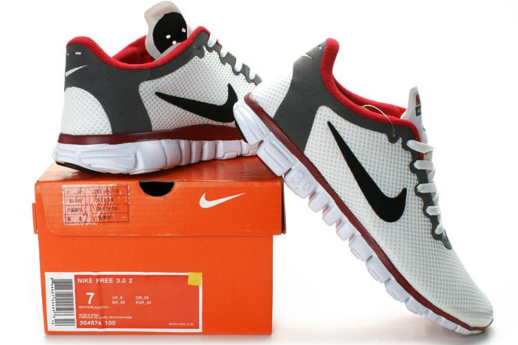 Nike Free Run 30 Mesh White Grey Red Running Shoes